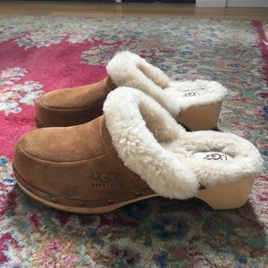 UGG shearling wooden clogs